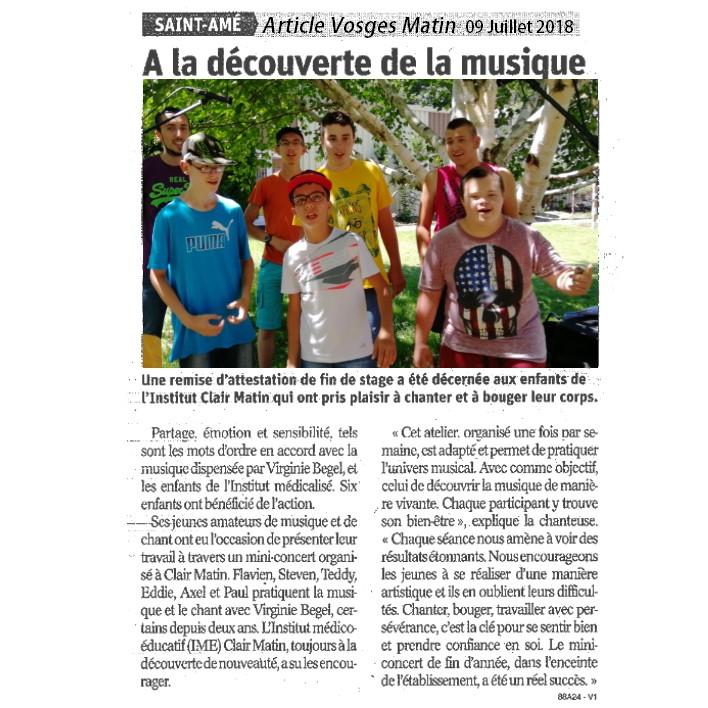 Article Vosges Matin 9 juillet 2018